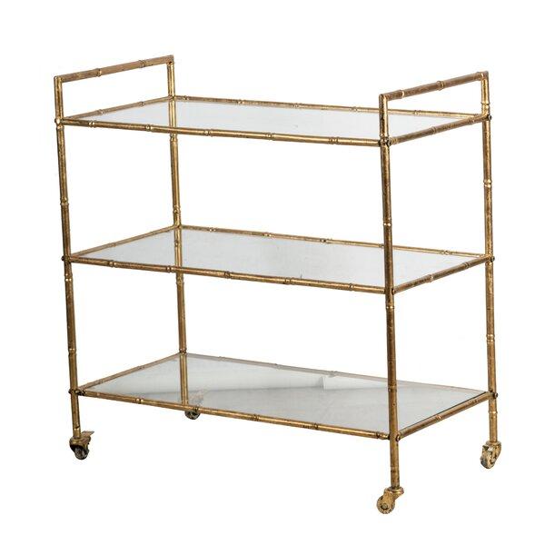 Kraig Metal Antique Gold Bar Cart By Mercer41