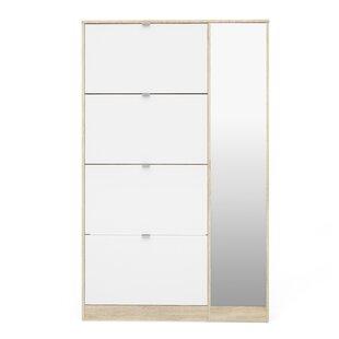 Ridgley 4 Flap Door and 1 Mirror Door 24 Pair Shoe Storage Cabinet By Rebrilliant