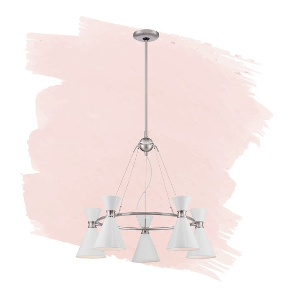 Silas 5 - Light Shaded Wagon Wheel Chandelier by Foundstone Foundstone