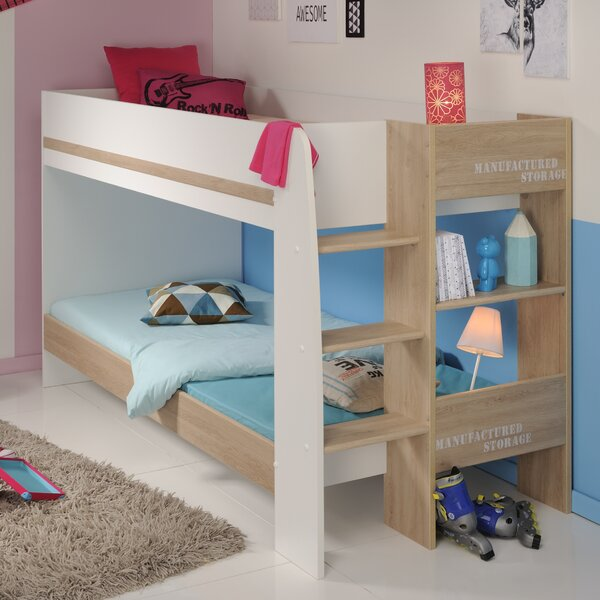 Deramus Twin over Twin Bunk Bed with Mattress Trundle and Bookcase by Zoomie Kids