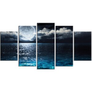 'Romantic Full Moon Over Sea' 5 Piece Wall Art on Wrapped Canvas Set by Design Art