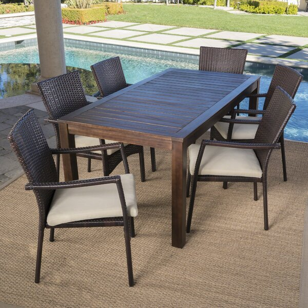 Avenir Outdoor Wood Wicker 7 Piece Dining Set with Cushions by Charlton Home