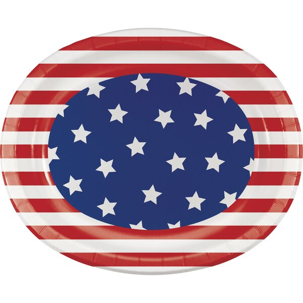 Patriotic Oval Paper Dinner Plate (Set of 24) by Creative Converting