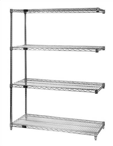 Small Q-Stor Chrome Wire Shelving Add-On Unit by Quantum Storage
