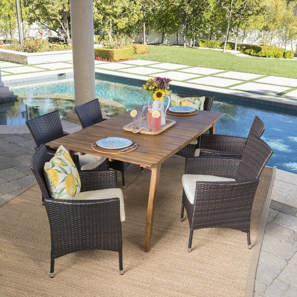 Manno Outdoor 7 Piece Dining Set with Cushions by Gracie Oaks