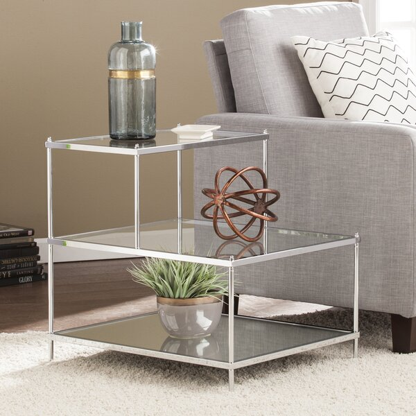 Busey Glam Mirrored End Table by Latitude Run
