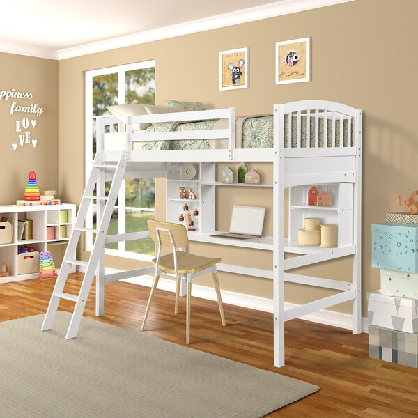 Stoutland Twin Loft Bed with Desk and Shelves by Harriet Bee