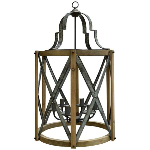 Micmilllion 6 - Light Lantern Drum Pendant with Wood Accents by Rosalind Wheeler Rosalind Wheeler