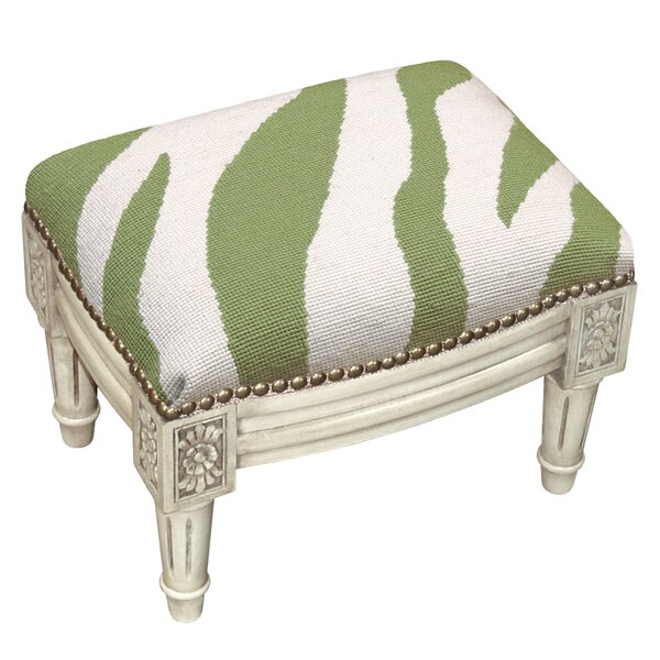 Zebra Stripe Wool Needlepoint Upholstered Ottoman by 123 Creations