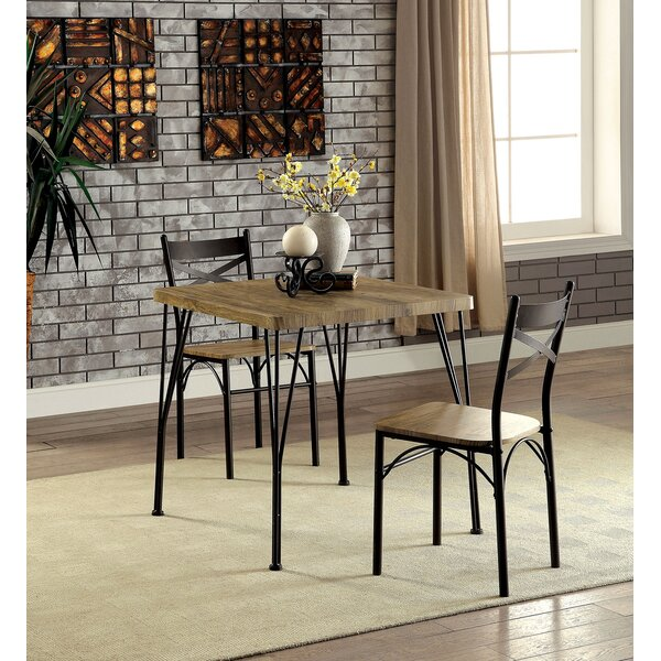 Roslyn 3 Piece Solid Wood Dining Set by Williston Forge