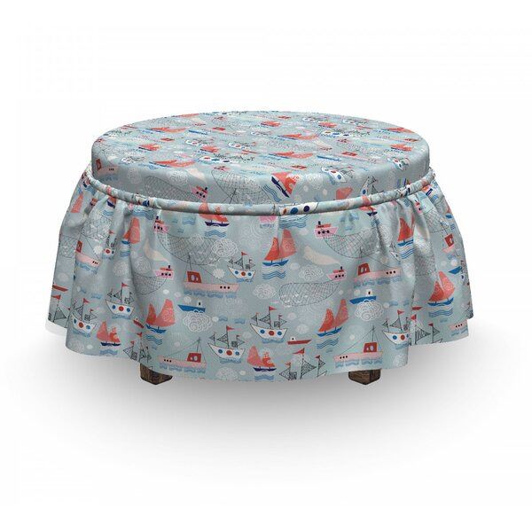 Ships On The Sea Ottoman Slipcover (Set Of 2) By East Urban Home