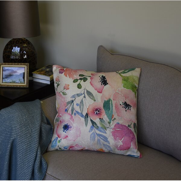 Howa Blush Floral Throw Pillow by Ophelia & Co.