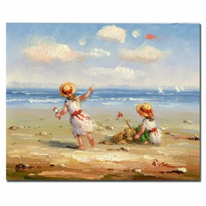 'At the Beach I' Painting Print on Canvas by Trademark Fine Art