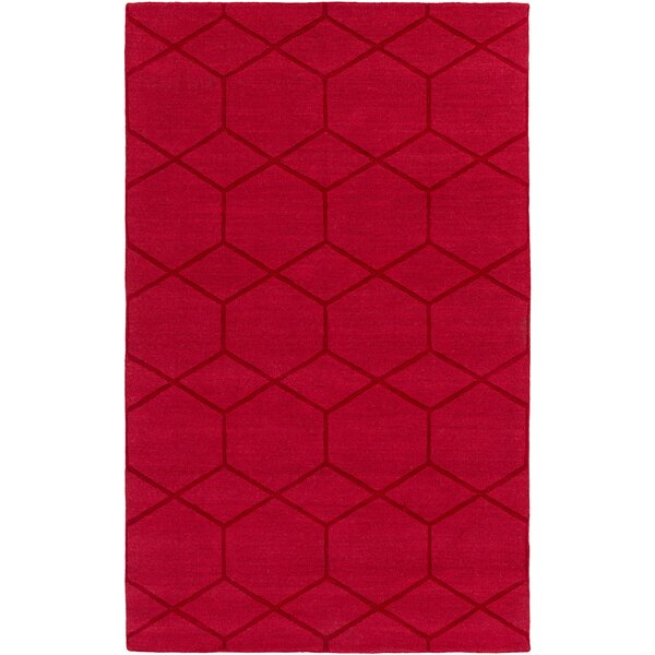 Peever Hand-Loomed Bright Red Area Rug by Charlton Home