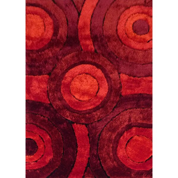Orrstown Shaggy Hand-Tufted Red Area Rug by Orren Ellis