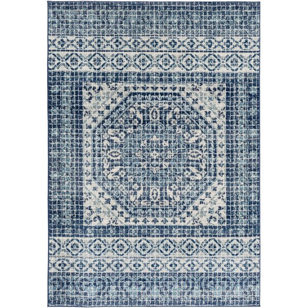 Hillsby Inspired Floral Dark Blue/Teal Area Rug by Mistana