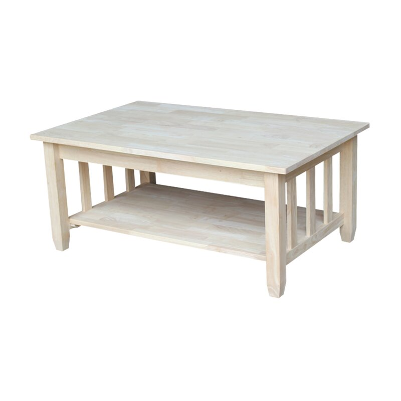 international concepts unfinished wood mission coffee table with