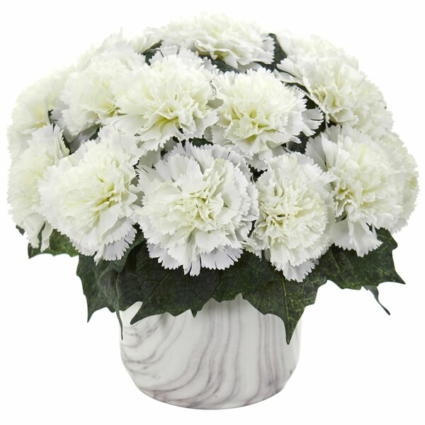 Artificial Carnation Centerpiece in Vase by Highland Dunes