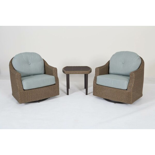 Gillsville 3 Piece Rattan Sunbrella Seating Group with Cushions by Rosecliff Heights