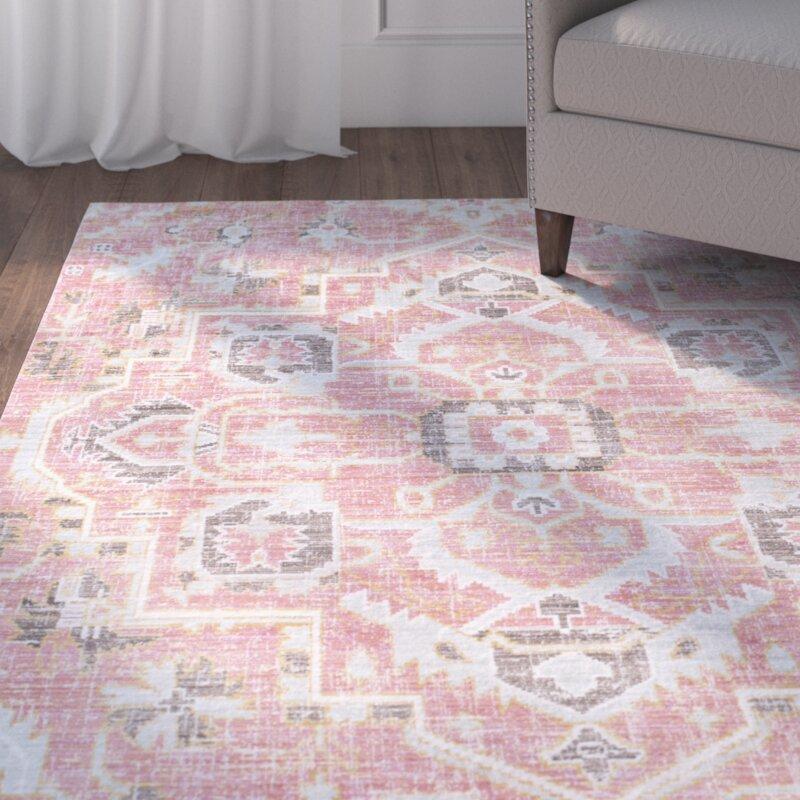 Mistana Fields Pink Area Rug & Reviews