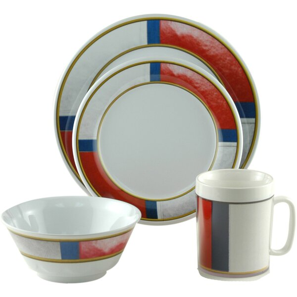 Decorated Life Preserver Melamine 16 Piece Dinnerware Set, Service for 4 by Galleyware Company