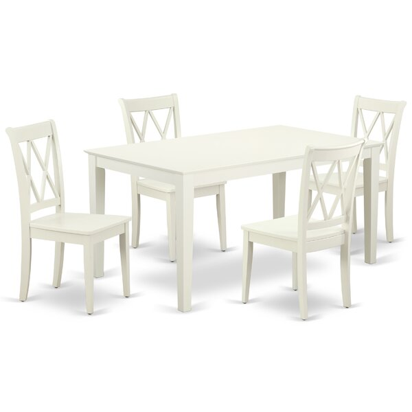 Kreger 5 Piece Solid Wood Dining Set by August Grove