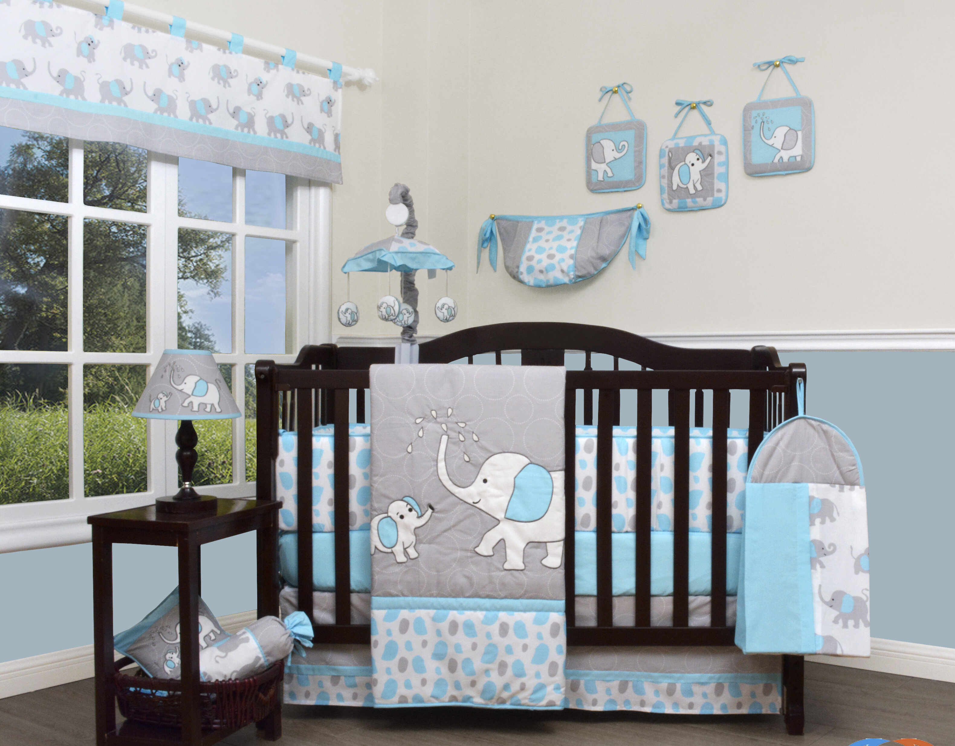 Baby Boys Elephant Jungle Diego Aqua Nursery Crib Bedding Set 5 Pcs FREE Blanket