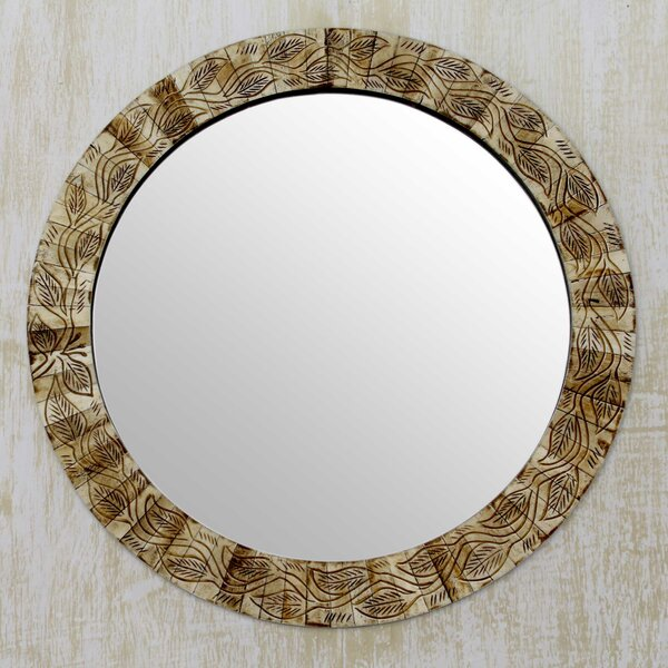 Earth Ivy Handmade Bone Mosaic Circular Wall Mirror by Novica