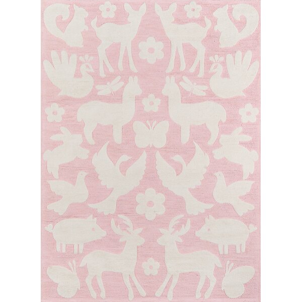 Crossville Hand-Hooked Cotton Pink Area Rug