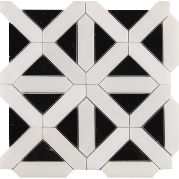 Retro Fretwork Random Sized Marble Mosaic Tile in Black/Gray by MSI
