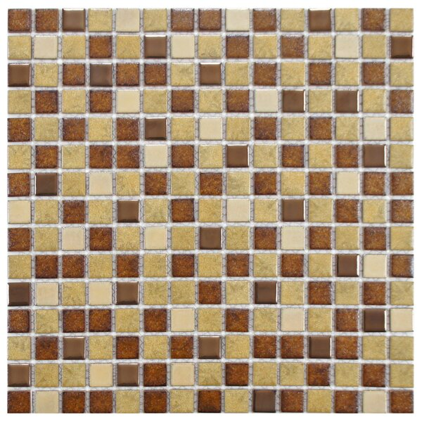 Metal Midtown 0.75 x 0.75 Porcelain Mosaic Tile in Beige/Brown by EliteTile