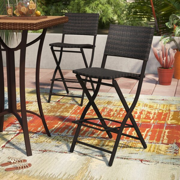 Deston Outdoor Wicker 28 Bar Stool (Set of 2) by World Menagerie