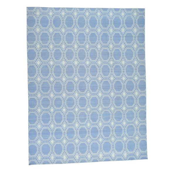 One-of-a-Kind Flat Weave Durie Kilim Reversible Hand-Knotted Ivory/Blue Area Rug by Bungalow Rose