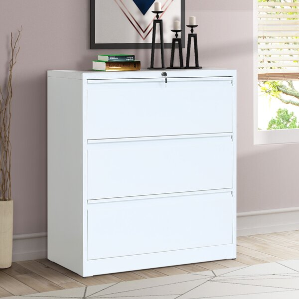 Rosdom Metal 3-Drawer Lateral Filing Cabinet