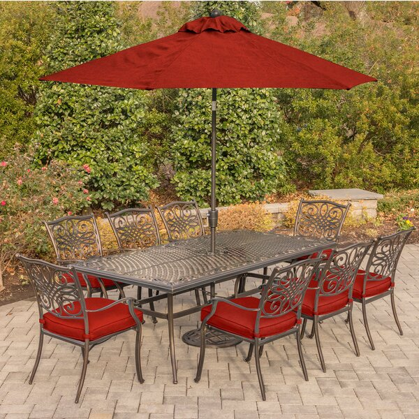 Rhames Traditions 9 Piece Dining Set with Cushions by Astoria Grand