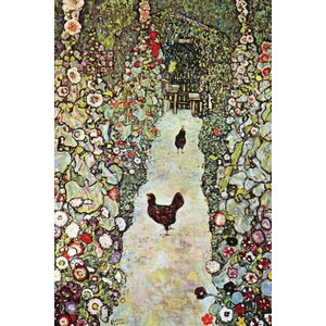 Garden Path with Chickens by Gustav Klimt Painting Print on Wrapped Canvas by Buyenlarge