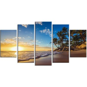 'Paradise Tropical Island Beach Sunrise' 5 Piece Photographic Print on Wrapped Canvas Set by Design Art