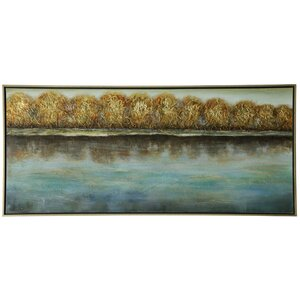 Trees Along The Shoreline Painting on Canvas by Loon Peak