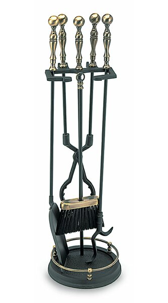 4 Piece Ball Handle Cast Iron Fireplace Tool Set by Minuteman International