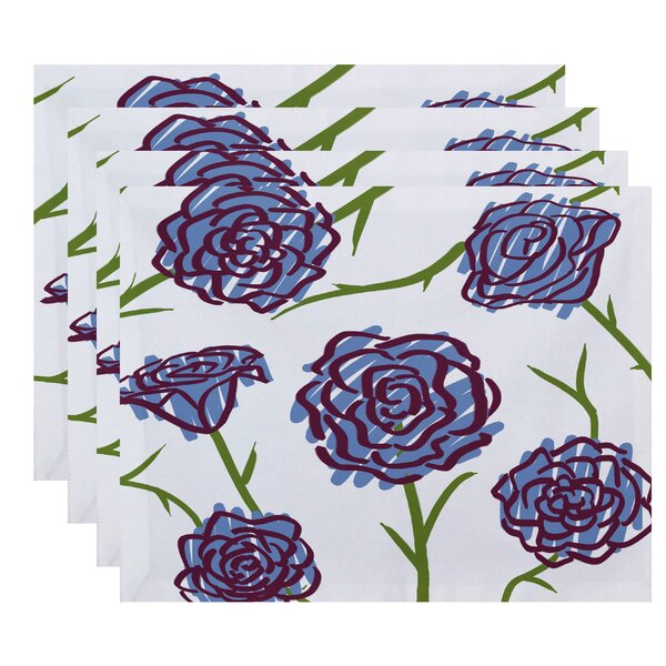 Cherry Spring Floral 1 Print Placemat (Set of 4) by Latitude Run