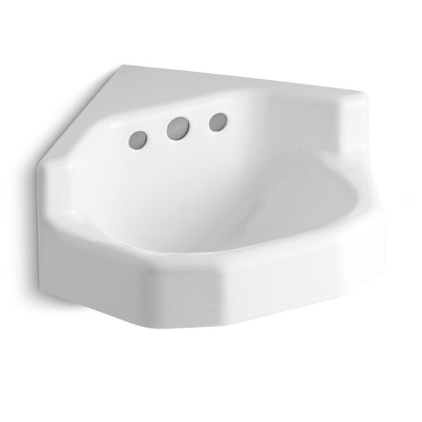 Marston Metal 23 Corner Bathroom Sink with Overflow by Kohler
