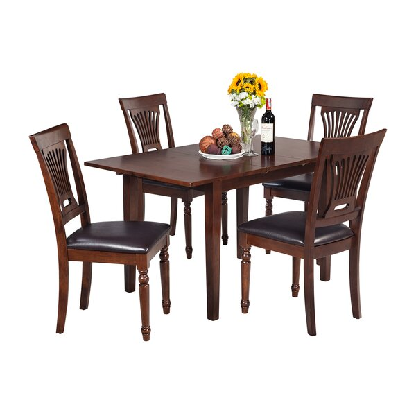 Assante 5 Piece Solid Wood Dining Set with Butterfly Leaf Table by Alcott Hill