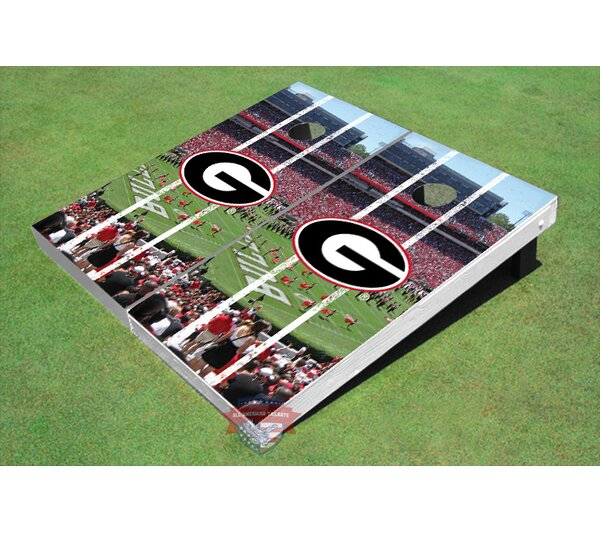NCAA University Of Georgia G Stadium Long Strip Themed Cornhole Board Set by All American Tailgate