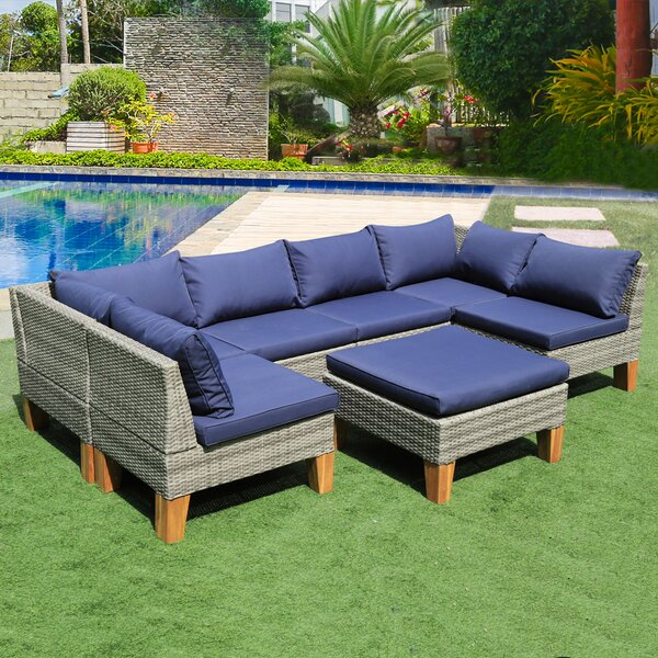 Mccary 7 Piece Sectional Seating Group with Cushions by Highland Dunes