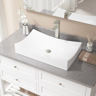 Looking for Vitreous China Rectangular Vessel Bathroom Sink with Faucet ByMR Direct