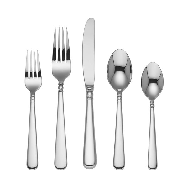 Pearl Platinum 5 Piece 18/10 Stainless Steel Flatware Set by Lenox