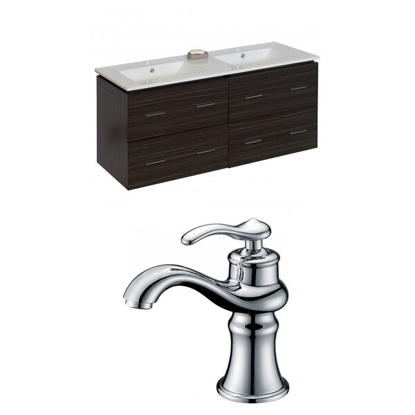 Kyra 48 Multi-Layer Stain Double Bathroom Vanity Set by Orren Ellis