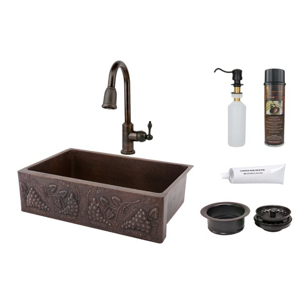 33 L x 22 W Hammered Apron Kitchen Sink with Faucet by Premier Copper Products