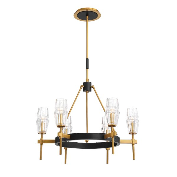 Eveleth 6 - Light Candle Style Wagon Wheel Chandelier by Everly Quinn Everly Quinn