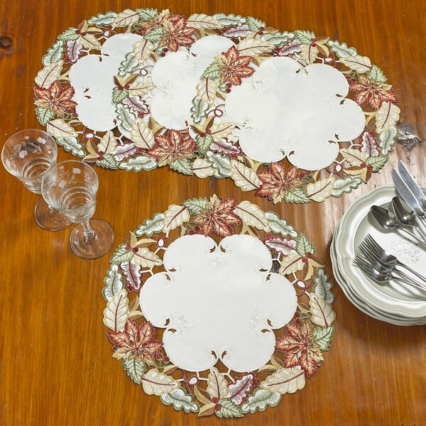 Chiara Autumn Leaves and Berries 16 Placemat (Set of 4) by August Grove